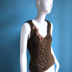 KENZO Jungle Crochet Knit Tank Rabbit Fur Trim M